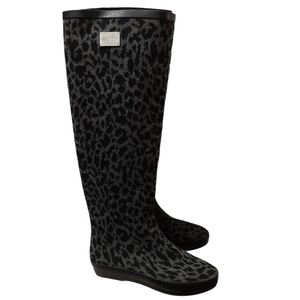 DavFestival Leopard Print Black Gray Rainboots